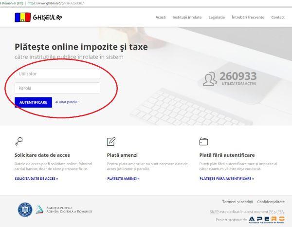 plata taxe si impozite online