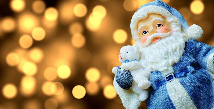 mos craciun figurina albastra